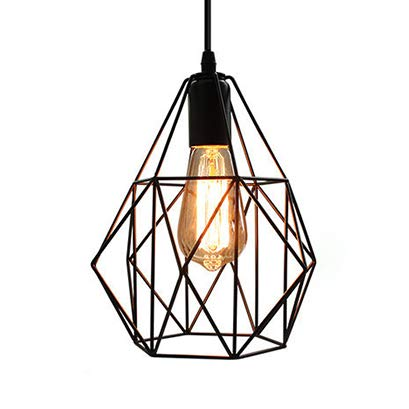 Retro E26 Industrial Pendant Lam, CraftThink Lamp Holder Bulbs Hanging Loft Diamond Cage Metal Lampshade Hanging Lamp Ceiling Lamp Pendant Lamp [Energy Class A ++]- TYP B (Head Shape-typen)