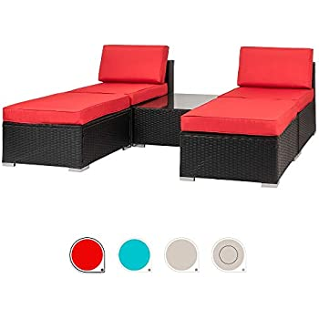 Amazon Com Walsunny 5 Pieces Patio Outdoor Furniture Set All Weather Pe Wicker Sectional Patio Chaise Lounge Poolside Rattan Patio Conversation