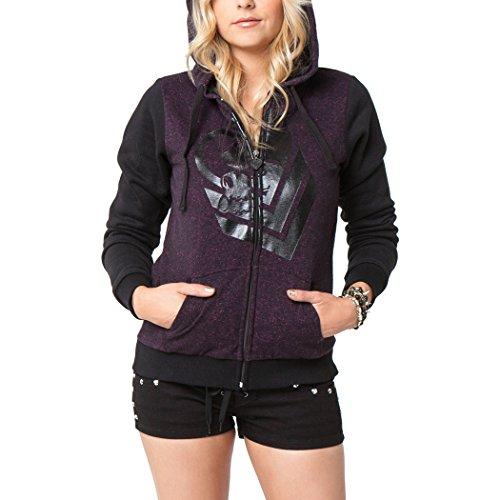 Metal Mulisha Juniors Cozy Zip-Up Sweatshirt, Black, Small (Sweatshirt Print Sherpa Screen)