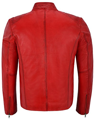 Biker Pelle Vera In 02 Da Speed Washed 'giacca Classic Motorcycle Red Uomo Sr Style zgqwtUAnxC