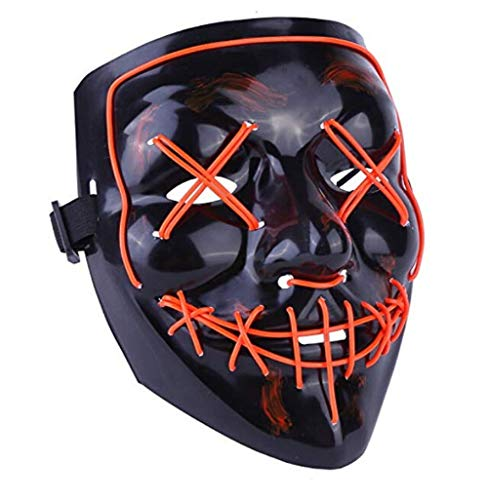 LED Mask for Festival Cosplay Costume and Party Decoration - Light up Your Life (Orange)