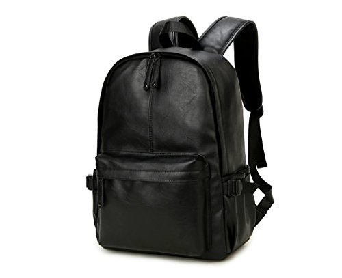 (NingDom PU Leather Strong Backpack Laptop Book-bag Vintage School College Rucksack Bag Black )