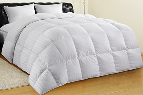 ALLRANGE All-Season 75% White Duck Down Quilted Comforter Duvet, 300TC 100% Cotton Dobby Stripe Cover, 600 Fill Power, Corner Loops, RDS Certified, OEKO-TEX, Down Proof, White, King Size by Allrange (Image #8)