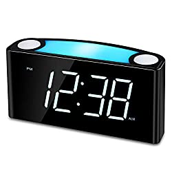 Raynic Digital Alarm Clock Desk Clock with Loud Alarm, Large Numbers, Snooze, Dual USB Charging Ports, Brightness Dimmer, 12/24 Hours, Nightlight for Bedrooms, Kids, Heavy Sleepers, Home, White