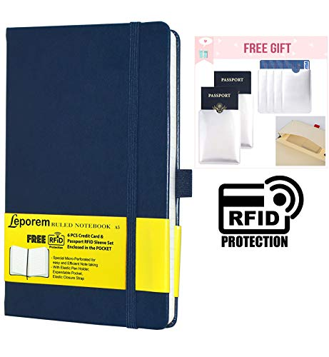 - Business Notebook - Premium Silky Writing Hardcover Ruled Notebook with Free 6 RF Blocking Sleeve, Lined Journal with Pen Loop, Pocket, Band, Ribbon & Thick Paper, A5 Bound Classic College Notebook