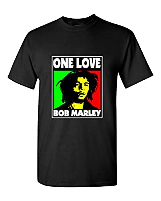Aizada Men's Bob Marley picture One Love T-Shirt