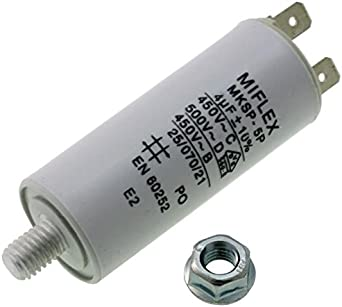 Start-up capacitor motor capacitor 4/μF 450 V 25 x 58 mm connector M8 ; Miflex; 4uF