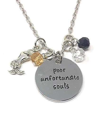 (Cadoline Silver-Tone 'Poor Unfortunate Souls' Engraved Pendant Necklace 2.5cm Diamater with 18 Inch Chain The Little Mermaid)