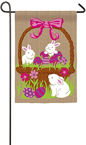 Evergreen Three Bunnies in a Basket Burlap Garden Flag, 12.5