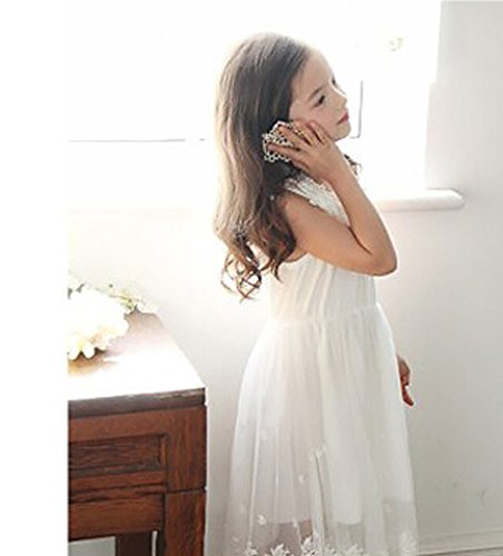 Bow Dream Flower Girl's Dress Vintage Lace Off White 7