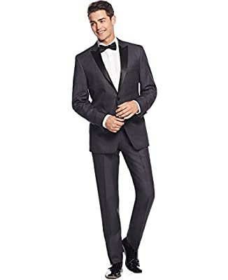 Calvin Klein Slim-Fit Grey Textured 2 Button Flat Front New Men's Tuxedo Suit