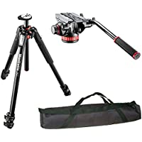 Manfrotto MT055XPRO3 3-Section Aluminium Tripod with MVH502AH Professional Fluid Video Head and a 35 Padded Case