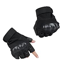 xhorizon ™ ZA5 Men's Multipurpose Ventilate Military Half-Finger Fingerless Hard Knuckle Protection Tactical Airsoft Gloves for Sports/Outdoor/Shooting/Hunting/Riding/Cycling (Black, Medium)