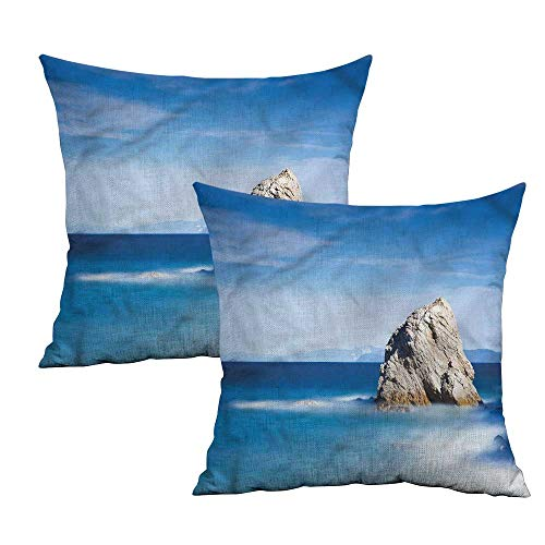 Khaki home Italian Square Slip Pillowcase Rock in Ocean Serenity Square Personalized Pillowcase Cushion Cases Pillowcases for Sofa Bedroom Car W 18