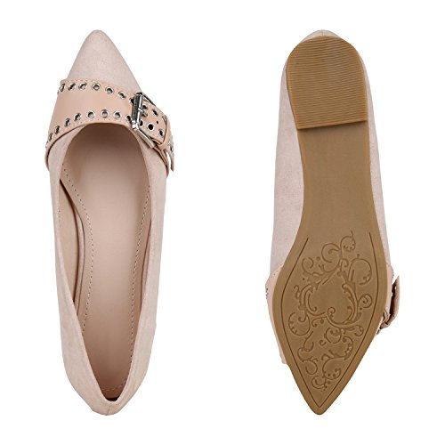 Stiefelparadies Spitze Lack Ballerinas Klassische Schuhe Nieten Metallic Steine Ballerina Flats Damenschuhe Flandell Nude Avion