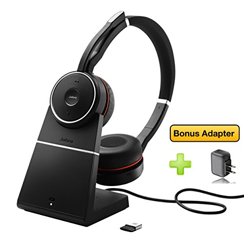 Jabra Headset Stand (Jabra Evolve 75 Bluetooth Headset Bundle | UC Version | Active Environmental Canceling | Bonus AC Adapter, USB Dongle, and Charging Stand | Compatible with Softphones, Smartphones, Tablets, PC/MAC)
