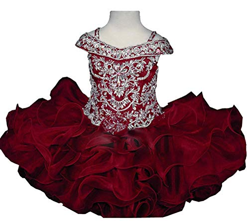 Wenli Baby Girls Sheer Neck Crystal Infant Mini Cupcake Pageant Skirt Dresses 5 US Burgundy ()