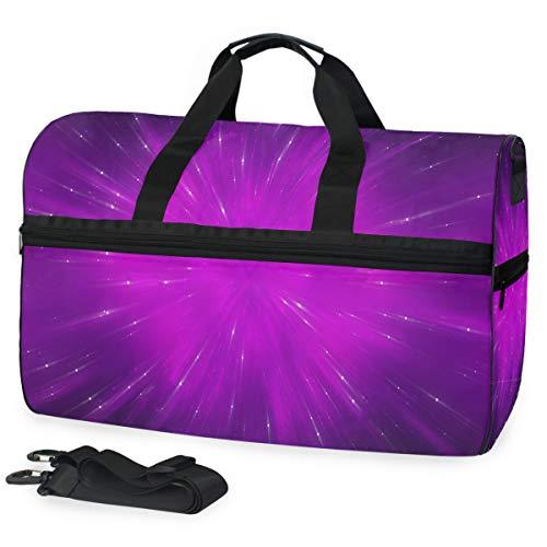 Violet Fractal Composition Gym Bags for Men&Women Duffel Bag Casual Fashion Bag with Shoe Compartment