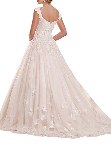 Hochzeitskleider mit Lang Brautkleider Träger Weiß Linie A Spitze Tüll tZnqgzW