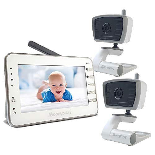 Video Baby Monitor with 2 Cameras for 2 Rooms, 4.3 Inches Big Screen, No WiFi, Long Battery Life, Power Saving Mode, Voice Activation, Auto Night Vision, Temperature Monitoring, 2-Way Talk Back
