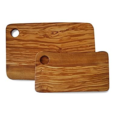 Set of 2 Cutting Boards for Food Preparation and Presentation - Premium Natural Olive Wood Chopping Board Made in Italy
