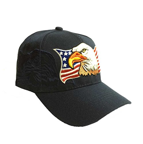 Patriotic American Eagle and Flag Baseball Cap with USA (Navy Blue) -