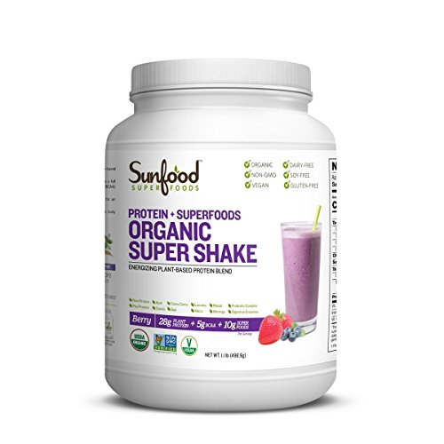 Sunfood Superfoods Organic Super Shake, Natural Berry Flavor. Blend of Plant-Based Protein, Superfoods, Probiotics, Digestive Enzymes, Adaptogens. Great Meal Replacement Smoothie. 1.1 lb Tub
