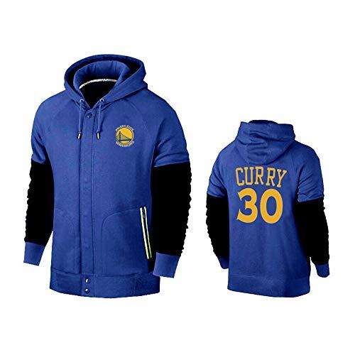 A S HuWai-de plein air Sweat à Capuche NBA oren State Warriors Ventilateurs de Basket-Ball Zipper Confortable Clothes bleu