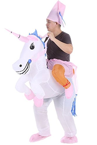 [Inflatable Unicorn Riding Costume Cowboy Fancy Dress Funny Horse Monocerus Suit Mount White] (Cowboy Riding A Horse Costume)