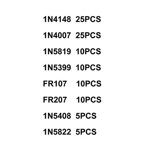 componenti elettronici 8values = 100pcs ELECTRONIC-MEI Kit di diodi Schottky a commutazione Rapida Set 1N4148 1N4007 1N5819 1N5399 1N5408 1N5822 FR107 FR207