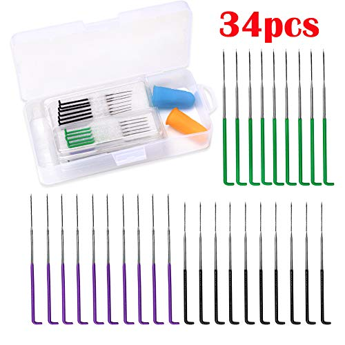 BUTUZE Needle Felting Needles, 34 Pcs Wool Felting Needles Tool Color Coded Wool Pin Needle Felting Supplies with Fingercots, Great for DIY Felting Wool Projects(38 Gauge,42 Gauge)