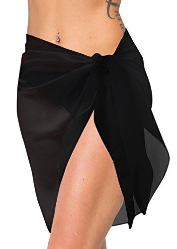 LA LEELA Super lightweigth chiffon puro donne semplici costume da bagno hawaiano avvolgere spiaggia 3 in 1 gonna prendisole coprire sciarpa costume da bagno mini sarong cm 172x53 Nero_p509