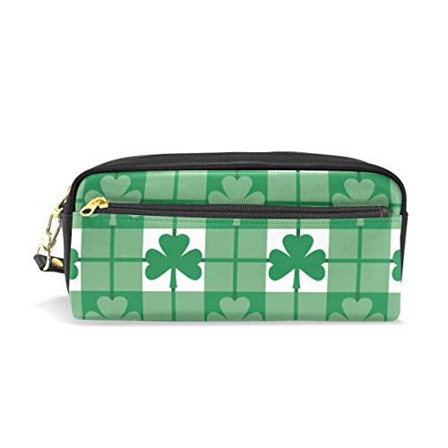 TFONE St. Patrick's Day Shamrock Clover Pencil Case Multifunction Large Capacity with Zipper Leather Pen Pouch Makeup Cosmetic Bag Purse Storage Bag
