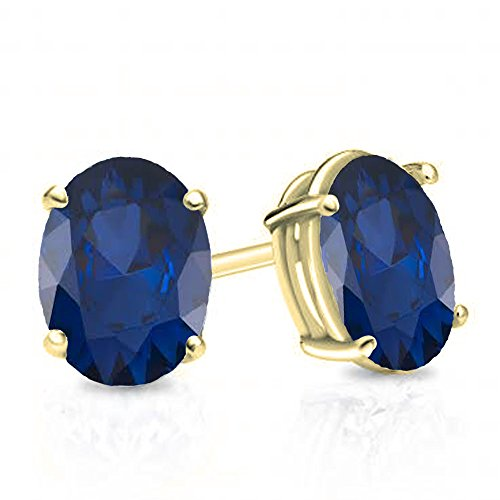 14k 6x4mm Oval Sapphire Ring (14K Yellow Gold 6x4 mm Oval Cut Blue Sapphire Ladies Solitaire Stud Earrings 1 CT)