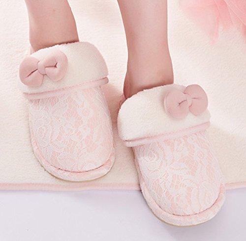 Cattior Womens Bow Fleece Indoor Warm Slippers Fluffy Slippers Pink YKMZDra