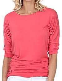 Women's Round Boat/V Neck 3/4 Sleeve Dolman Side Shirring Drape Oversized Loose Fit Tunic Top