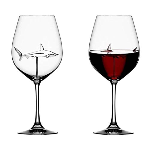 Shark Wine Glasses with Shark Inside,Italian Red Wine Glasses for Halloween,Bars,Christmas,Home,Party Handmade Crystal Flutes Wine Glass (2 PC)