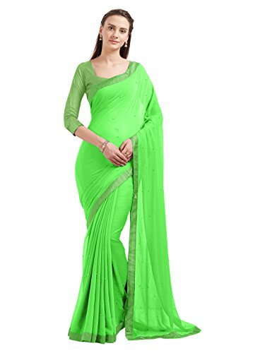 Sourbh Women's Marble Chiffon Fancy Work Indian Saree Bollywood Dress ()