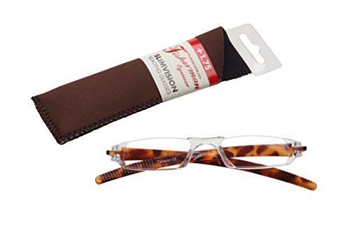Fisherman Eyewear Slim Vision Rimless Reading Glasses, Tortoise (+1.75)