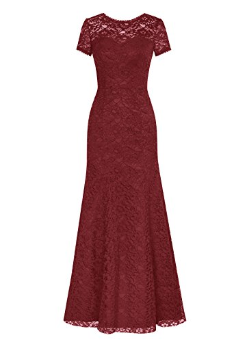 DRESSTELLS Long Lace Bridesmaid Dress Short Sleeved Evening Party Dress Burgundy Size 4