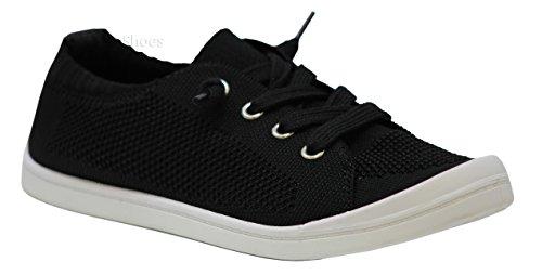 SODA Alpaca-s Women's Causal Slip On White Sole Round Toe Boat Sneaker Shoes Zubin Black ()