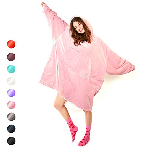 Blanket Sweatshirt Cozy Oversized Hoodie,One Size Sherpa Comfortable Gaint Hoodie for All,Ultra-Soft Warm Giant Sweatshirt Blanket,Reversible Oversided Hoddie Blanket Sweatshirt (Pink_ONE Size)