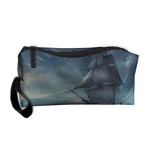 Lightning Sailboat - Cosmetic Bags With Zipper Makeup Bag Lightning Sailboat Middle Wallet Hangbag Wristlet Holder
