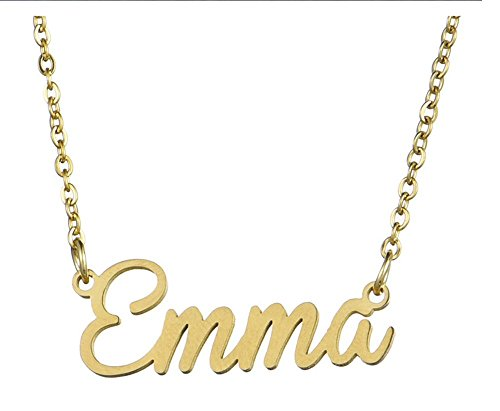 WINCSPACE Personalized Name Necklace Golden Plating Stainless Steel Necklace Best Gift for Women (Emma) ()