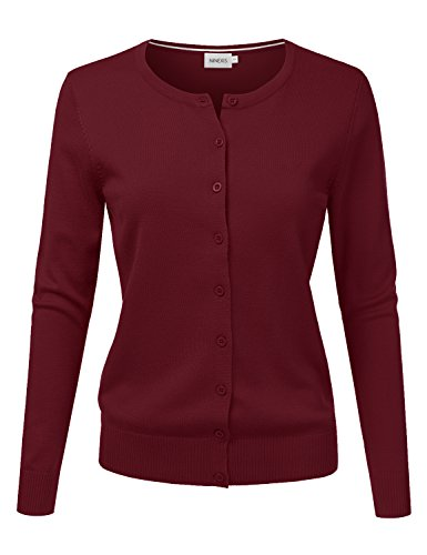 NINEXIS Women's Long Sleeve Button Down Soft Knit Cardigan Sweater Burgundy L - Burgundy Cardigan Sweater