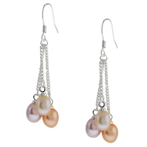 (Gem Stone King 6 Multi-Color Cultured Freshwater Pearl Dangle Earrings 1.5 Inch)