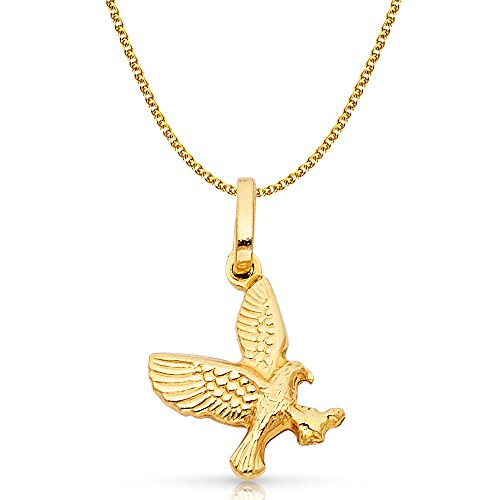 Gold Flying Eagle Charm - Ioka Jewelry - 14K Yellow Gold Flying Eagle Charm Pendant with 1.5mm Flat Open Wheat Chain Necklace - 18