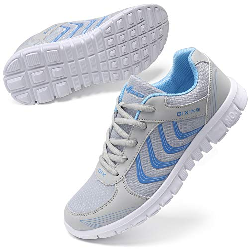 DUOYANGJIASHA Women's Athletic Mesh Breathable Casual Sneakers Lace Up Running Comfort Sports Fashion Tennis Shoes Grey