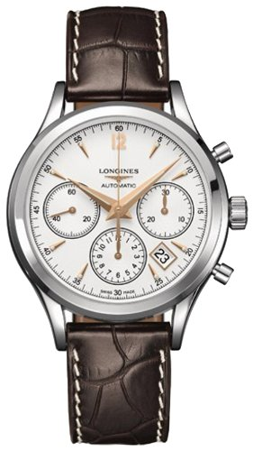 Heritage Chronograph (Longines Heritage Chronograph Automatic Mens Silver Dial w/ Brown Croc Strap)