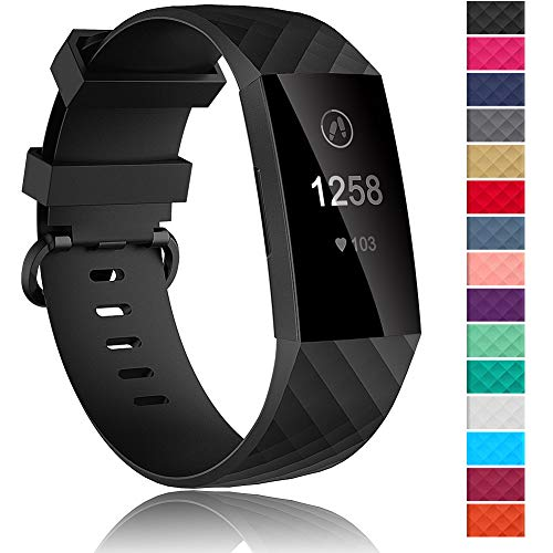 Velavior Waterproof Bands for Fitbit Charge 3 / Charge3 SE, Replacement Wristbands for Women Men Small Large (Black, Small)